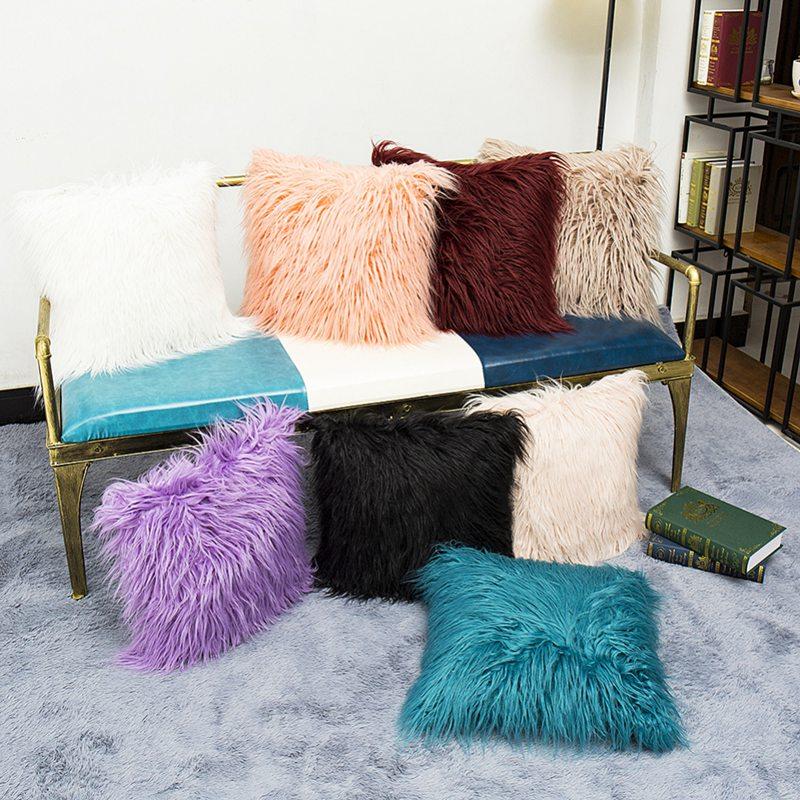 Square Fur Fluffy Sofa Pillow Cases Soft Plush Throw Cushion